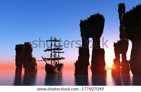 Silhouette of a sailboat and rocks. - stock photo