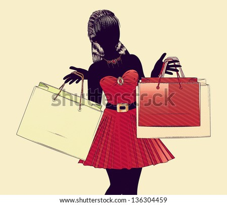 Silhouette of a shopping girl with bags in retro halftone style.