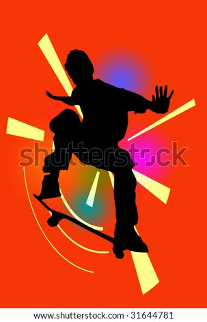 Silhouette of a skateboarder over abstract background - stock photo