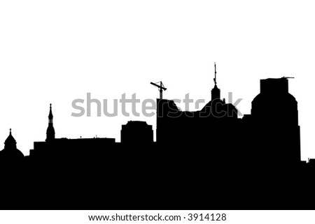 Silhouette of a Skyline - stock photo