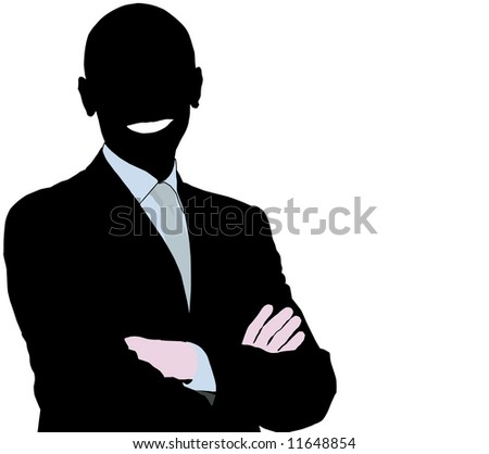 Silhouette of a smiling businessman over white background - stock photo