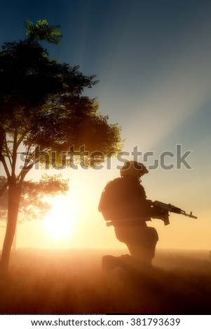 Silhouette of a soldier at sunset.