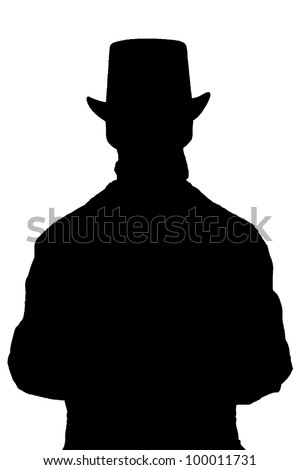 silhouette of a tophat guy - stock photo