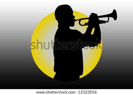 Silhouette of a trumpet player over colored background