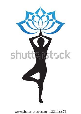 silhouette of a woman is doing yoga and lotus flower - stock photo