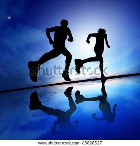 Silhouette of a woman running against the evening sky - stock photo