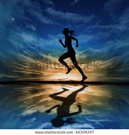 Silhouette of a woman running against the evening sky