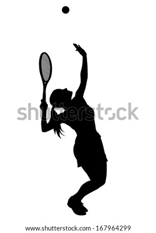 Silhouette of a woman tennis player serving a ball. - stock photo