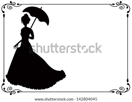 silhouette of a woman with umbrella and long dress  umbrella and vintage frame with swirls - stock photo