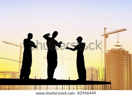 Silhouette of a worker in a white soft background