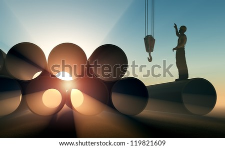 Silhouette of a worker on a background sky - stock photo