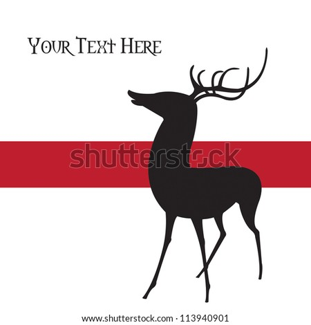 Silhouette of a young deer against a red stripe over a white background, high resolution JPEG.  Vector format is available, see portfolio. - stock photo