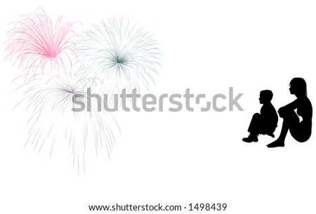 Silhouette of a young girl and boy sitting and watching a fireworks display. - stock photo