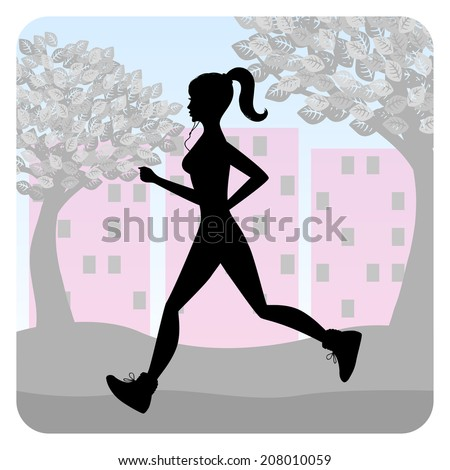 Silhouette of a young girl running in the park. Raster version  - stock photo