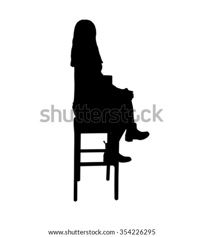 silhouette of a young girl sitting on a bar stool with crossed legs
