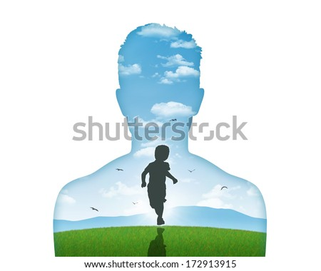 silhouette of a young man's portrait showing his inner child living in his mind - stock photo