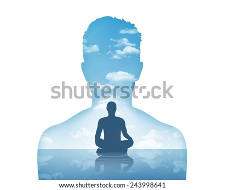 silhouette of a young man's portrait showing his inner world as a beautiful water and air landscape and him meditating in peace - stock photo