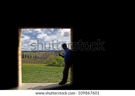 Silhouette of a young man using his mobile phone as he stands at the doorway to a green park with blue cloudy sky. - stock photo