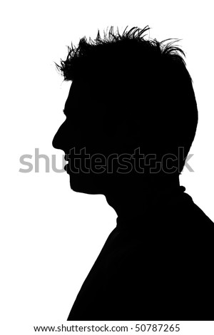 silhouette of a young man with funny hair - stock photo