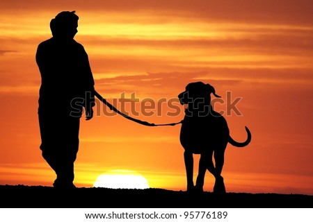 silhouette of a young woman walking her great dane dog at sunrise - stock photo