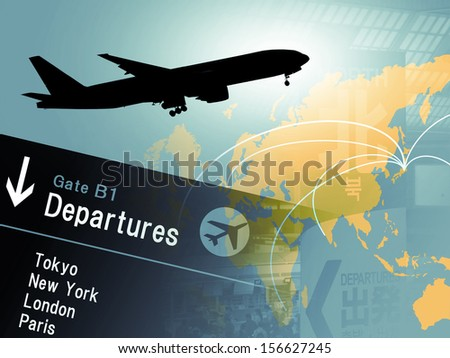 Silhouette of airplane with departure board - stock photo