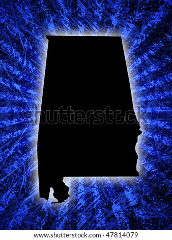 silhouette of alabama map on grungy blue burst background
