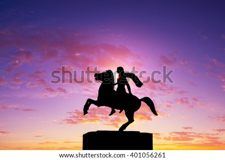 Silhouette of Alexander the Great Statue at sunrise. Thessaloniki city. Greece - stock photo