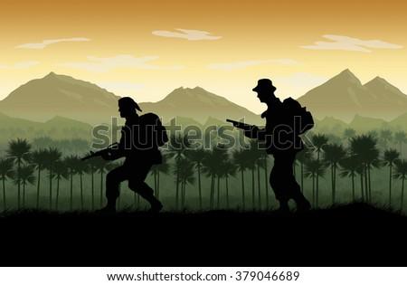 Silhouette of American soldier, Circa late 1960's in Vietnam or jungle warfare scenario. Artist illustration. - stock photo