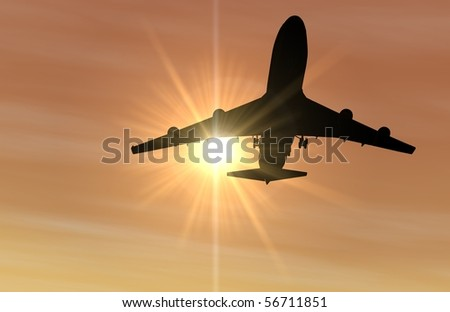 Silhouette of an airplane flying over head and coming in for a landing during sunset. Computer generated image.