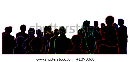 silhouette of an audience - colorful outline