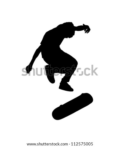 Silhouette of an energetic young boy jumping from his skateboard isolated against white. - stock photo