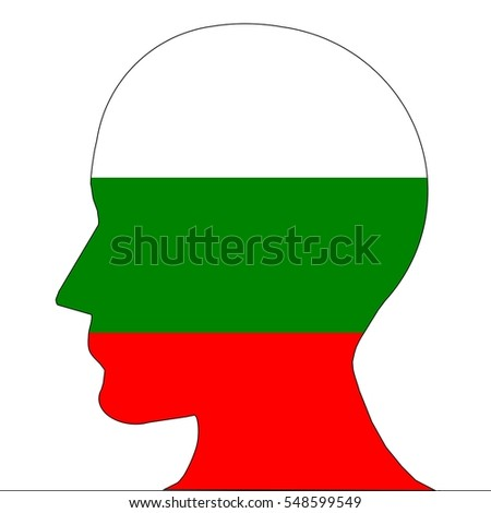 Silhouette of an head in the colors of Bulgaria