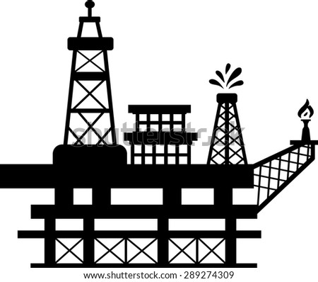 Silhouette of an oil rig which one of the towers spills oil while the other burns gas. - stock photo
