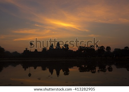 Silhouette of Angkor Wat in sunrise, the best time in the morning at Siem Reap. UNESCO Heritage Site in Cambodia