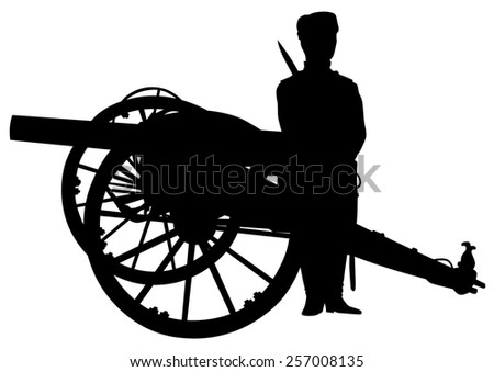Silhouette of antique guns and a soldier on a white background - stock photo