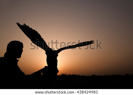 silhouette of Arabic man with hunting falcon at sunset