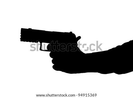 Silhouette of arm and Hand holding a Pistol