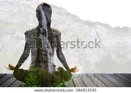 Silhouette of Asian woman yoga on the wooden bridge over waterfall and high mountain. Image by double layer technique create for business, healthcare, sport and lifestyle of people, - stock photo