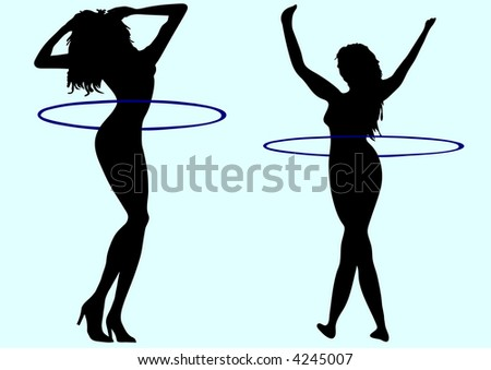 silhouette of attractive girls illustration