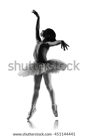 silhouette of ballet dancer girl in pointe and tutu isolated on white, little ballerina with working foot pointing in quatrieme devant pose. Education lessons in Classic dance school black and white - stock photo