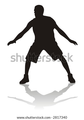 silhouette of basketball or volleyball player