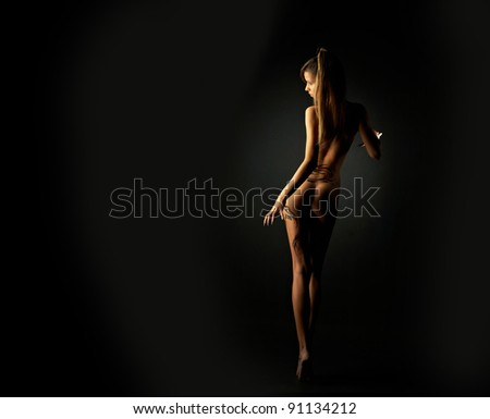 Silhouette of beautiful girl with dragon - stock photo
