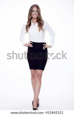 Silhouette of beautiful young adult attractive sexy and sensuality happy smiling pretty brunette woman elegance business style dress, Isolated on white background - stock photo
