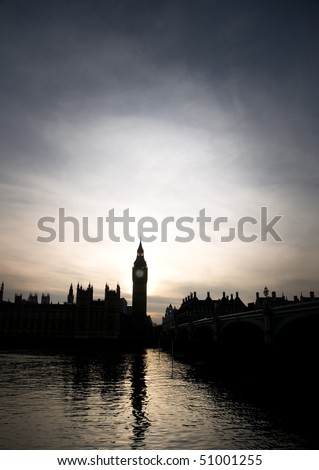 Silhouette of Big Ben and the Houses of Parliament in London in sunset - stock photo
