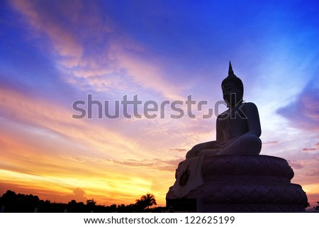 silhouette of big buddha - stock photo