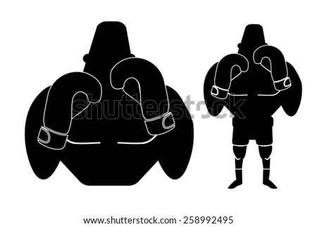 Silhouette of big muscular boxer in fight stance. Raster black color illustration isolated on white  - stock photo