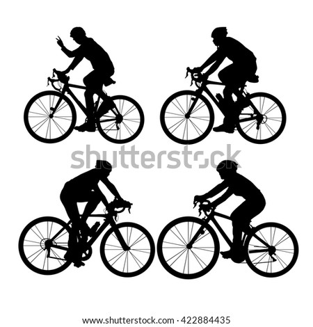 Silhouette of Biker, young sport woman and man with white background