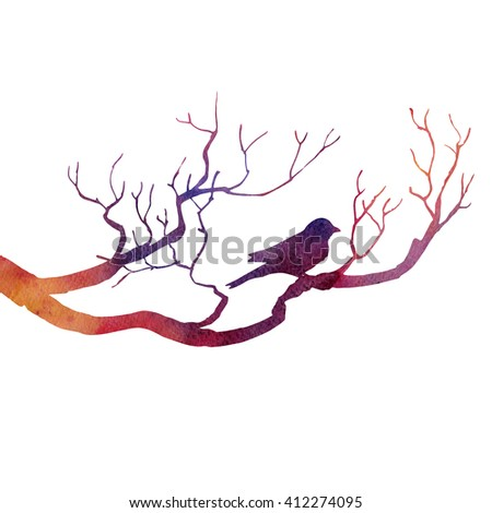 silhouette of bird at tree drawing by watercolor, hand drawn songbird at branch, hand drawn illustration - stock photo