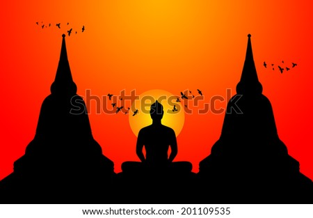 Silhouette of buddha on the sunset background,Thailand - stock photo