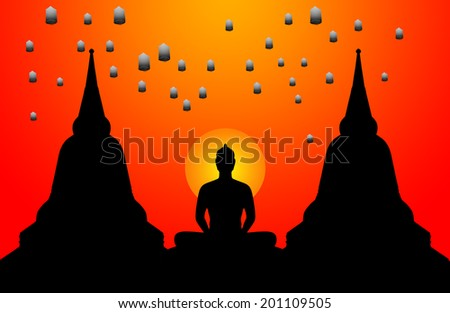 Silhouette of buddha the sunset background and the lanterns floating in the sky,Thailand - stock photo